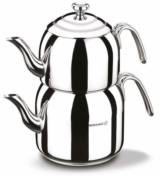 Korkmaz Droppa Büyük Boy Paslanmaz Çelik Çaydanlık 5 Litre | İndüksiyon