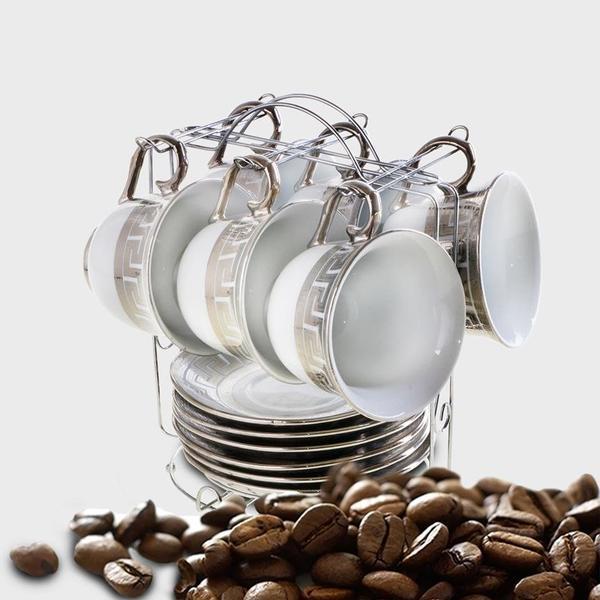 Bavary 6'lı Büyük Boy Kahve Fincan Seti Metal Stand | Altın
