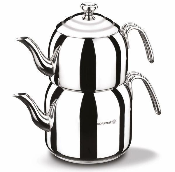 Korkmaz 3.3 lt Droppa Maksi Çaydanlık Paslanmaz Çelik | İndüksiyon | A057