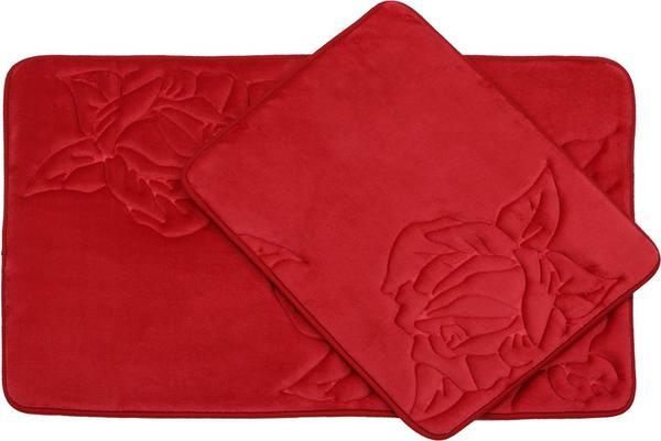 Almina Premium Gül Desenli Banyo Paspas Seti 2 Parça Midi | Kırmızı