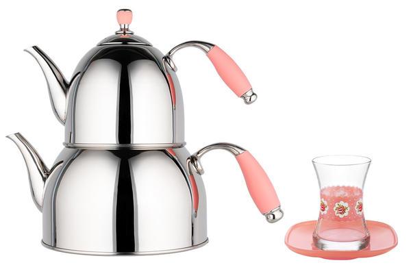 Almina   Pembe Çaydanlık 3 Litre & LAV   6'lı Mona Çay Bardağı Takımı Set
