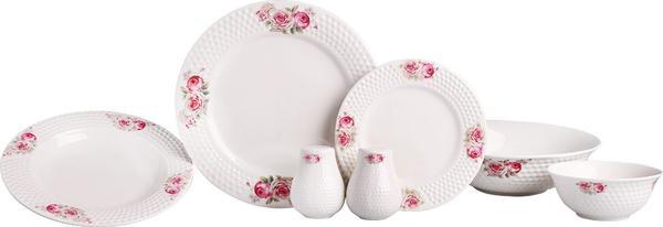 Bavary 27 Parça Güllü Porselen Yemek Takımı | Beyaz | 6 Kişilik