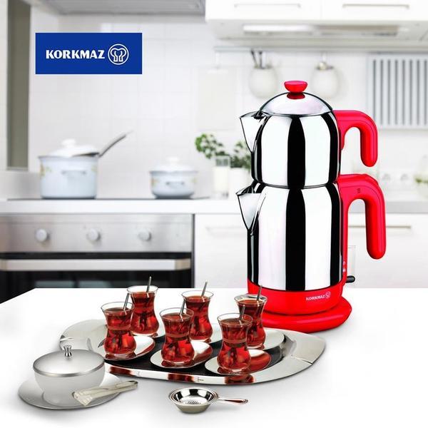 Korkmaz Demtez 2,7 lt. Elektrikli Çaydanlık - Kırmızı