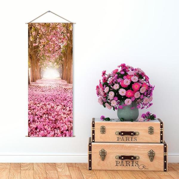 Askılı Kanvas Tablo - Pembe Çiçek Yolu