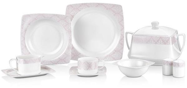 Taç Elegance Pink 85 Parça Bone Yemek Takımı   12 Kişilik   TAC-2058