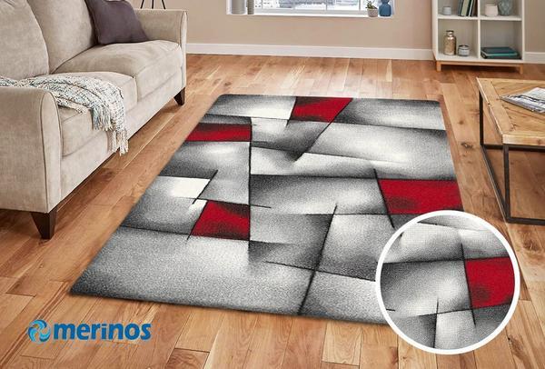 Merinos Brilliance Halı Kesikli Desenli | Kırmızı | 660-910-Red