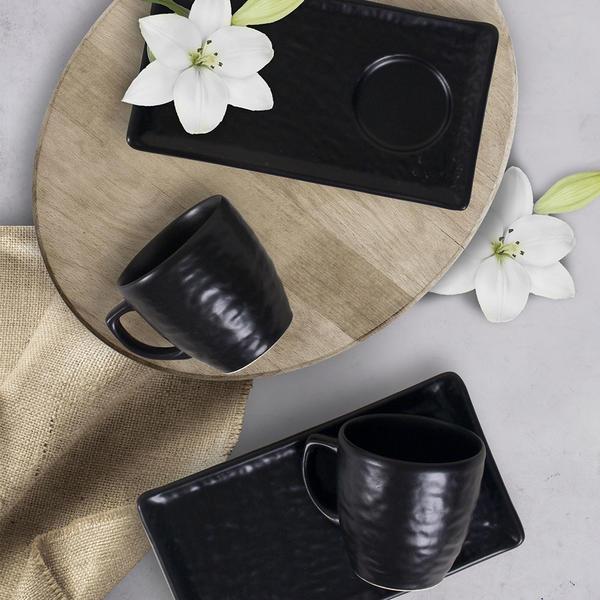 Mat Siyah Doğaltaş Kahve Sunum Seti 2 Kişilik | Keramika