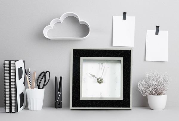 Dekonaz Modern Küçük Kristal Tozlu Saat   Siyah   14cm