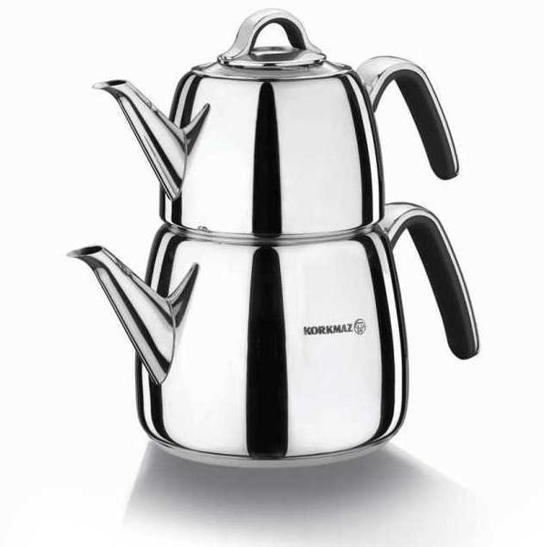 Korkmaz Vertex Çaydanlık Paslanmaz Çelik 3 Litre | İndüksiyon | Siyah | A197