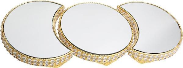 Dematex Lüks Kristal El Yapımı Dekoratif Tepsi - Altın Aynalı Parlak Taş