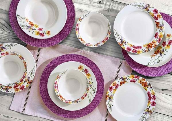Neva Violetta 24 Parça New Bone Porselen Yemek Takımı | 6 Kişilik | N1141