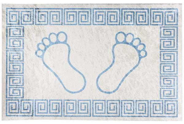 Dekonaz Yıkanabilen Kaymaz Ayak Paspası | 60x40cm | Mavi Beyaz | TM-0011
