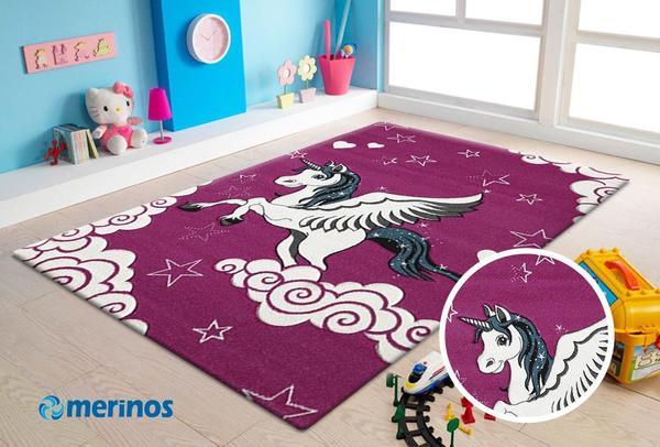 Merinos Diamond Unicorn Çocuk Odası Halısı | Mor | 640-17-Fucsia