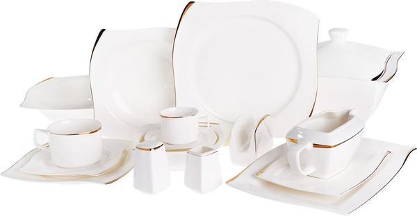 Korkmaz Bone Selection 86 Parça S-Form Porselen Yemek Takımı | 12 Kişilik | A880