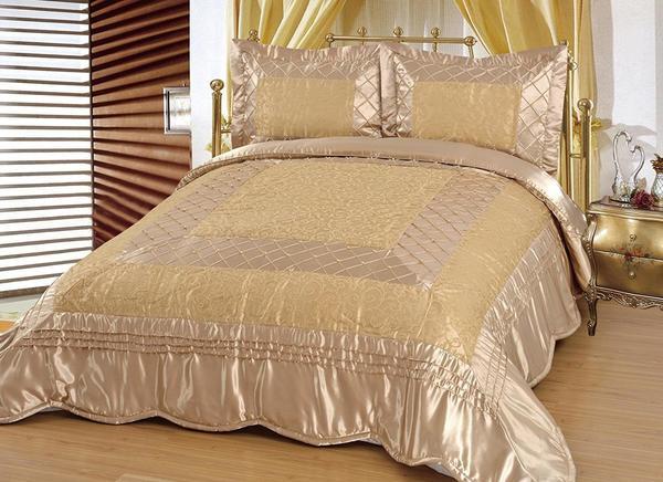 Yatak Örtüsü Seti 3 Parca Saten Altin