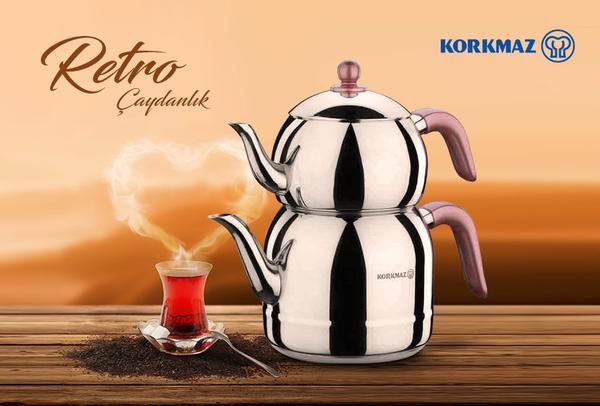 Korkmaz Retro Çaydanlık Takımı Pembe Kulplu | İndüksiyon | A195