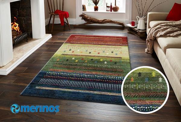 Merinos Ethno Örgü Desenli Halı | Renkli | 818-110-Multi