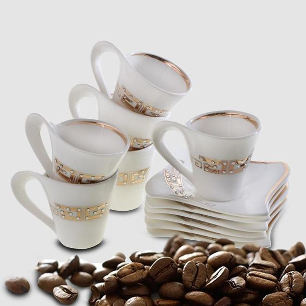 Bavary 6'lı Kahve Fincan Seti Porselen 12 Parça | Hyc301lag