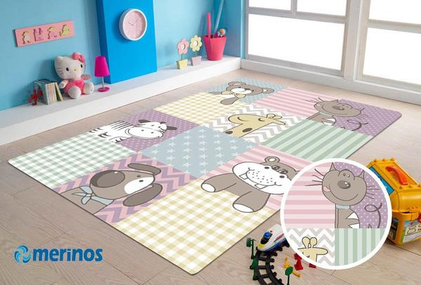 Merinos Pastel Kids Sevimli Hayvanlar Çocuk Halısı   Renkli   21906-750-Multi
