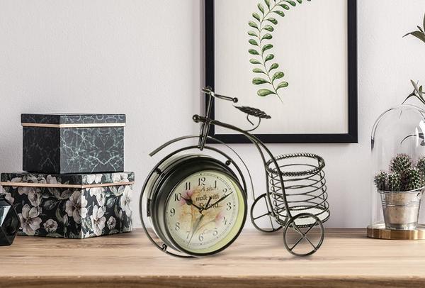 Elite Bisiklet Tasarımlı Masa Saati | Yeşil & Siyah | ER2385-S