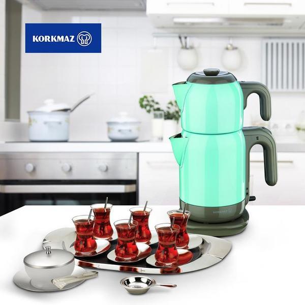 Korkmaz Demtez 2.7 lt. Elektrikli Çaydanlık - Turkuaz