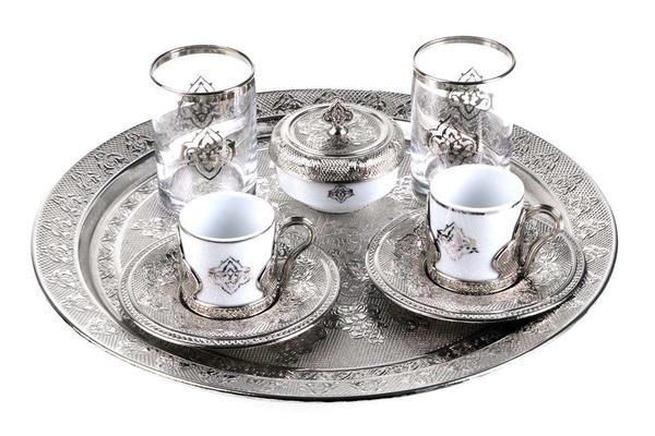 Doreline 2'li Orient Kahve Fincan Seti 9 Parça | Gümüş