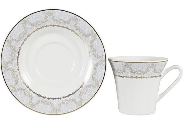 Almina 6'lı İnce Porselen Kahve Fincan Seti Altın İşlemeli   12 Parça   AL-2508