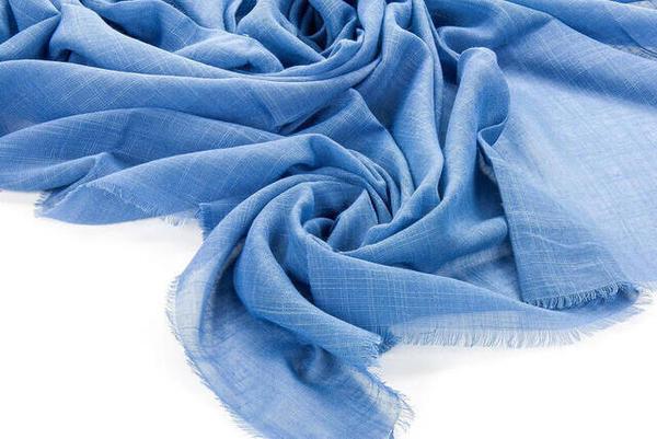 Flamlı Kare Pamuklu Örtü - Mavi