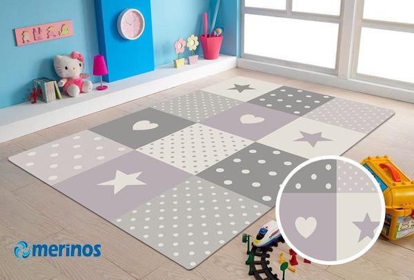 Merinos Pastel Kids Yıldızlı Çocuk Halısı | Lila | 20339-250-Lila