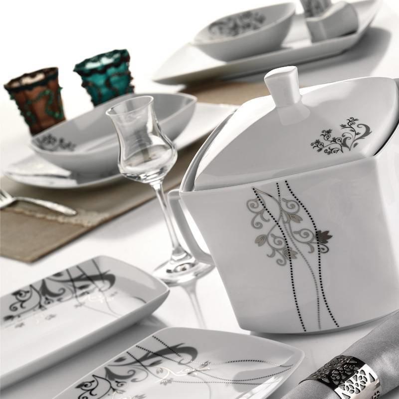 k tahya porzellan medusa 82 teilig tafelservice teller set esservice tafel set. Black Bedroom Furniture Sets. Home Design Ideas