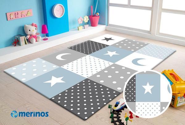 Merinos Pastel Kids Yıldız Çocuk Odası Halısı | 20340-293-Blue