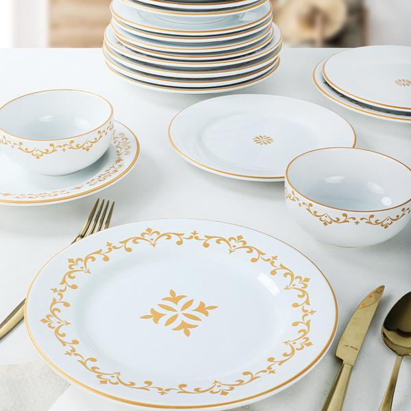 Riva Beyaz Gold Yemek Takımı 24 Parça 6 Kişilik | Keramika