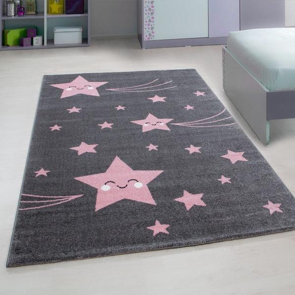 Ayyıldız Kids Yıldızlı Çocuk Halısı | 100% PP Frise 11mm 2500 gr | Pembe | 610-Pink
