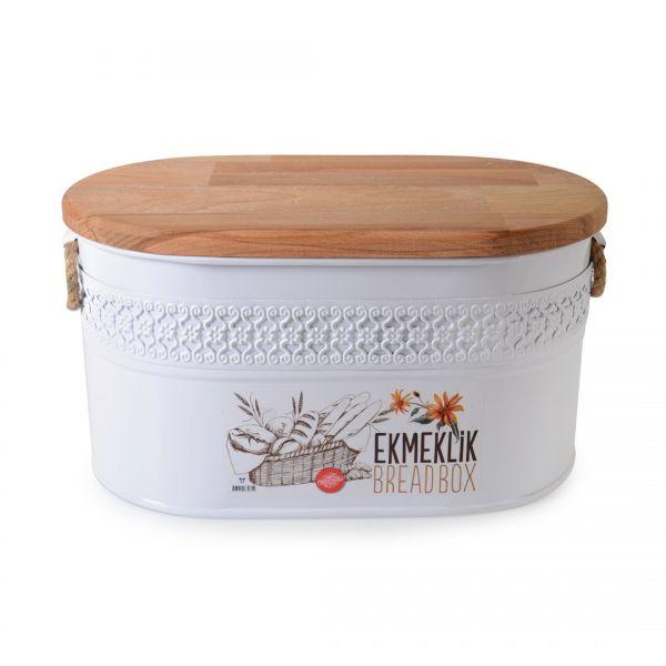 İpek   Beyaz Ahşap Kapaklı Oval Metal Ekmeklik 953B