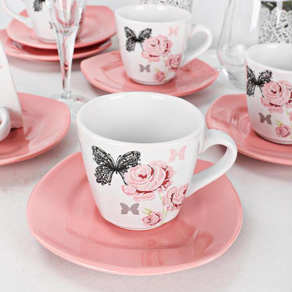 Gül Trend Çay Takımı 12 Parça 6 Kişilik   Keramika