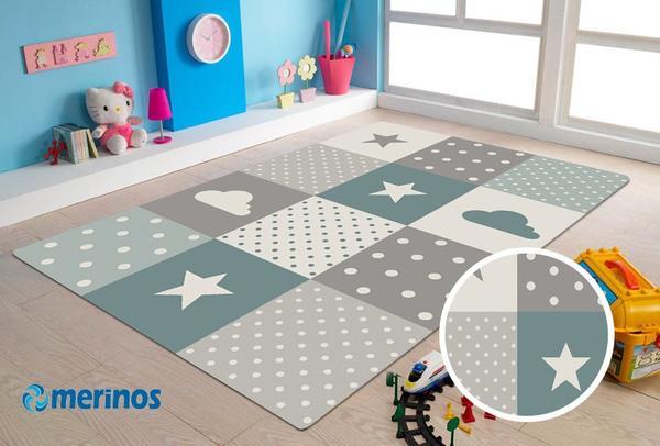 Merinos Pastel Kids Yıldızlı Çocuk Halısı   Mavi   22755-253-Blue