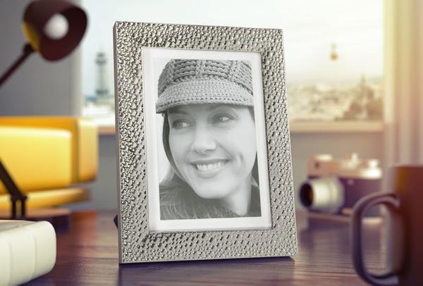 Dekonaz Damla Motifli Resim Fotoğraf Çerçevesi | Gümüş | 10x15 cm