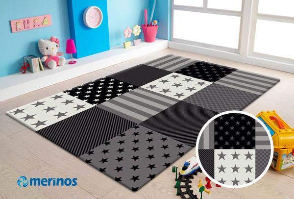 Merinos Diamond Çocuk Odası Halısı | Gri | 777-995-Grey