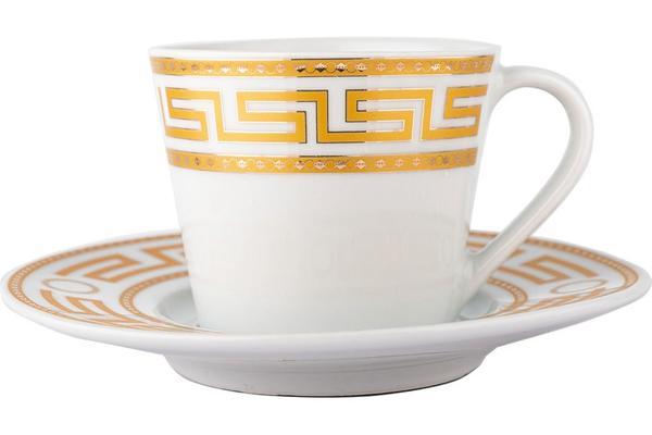 Almina | Kahve Fincanı Seti | 6 Kişilik | Beyaz-Altın | Al-2751