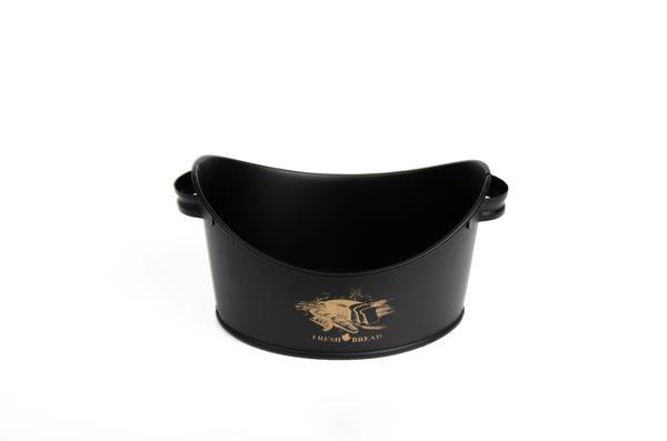 Bayev | Siyah Metal Kulplu Ekmek Sepeti