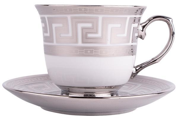 Hayal 6'lı Büyük Boy Kahve Fincan Seti Hediye Kutulu | Gümüş | By-p002-s