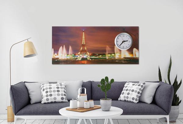 Saatli Duvar Tablosu Paris Eyfelkulesi 87cm