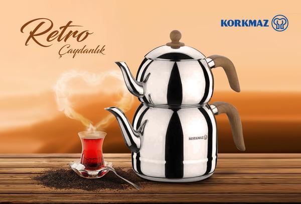 Korkmaz Retro Çaydanlık Takımı Ahşap Kulplu | İndüksiyon | A196