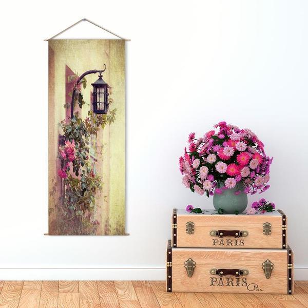 Askılı Kanvas Tablo - Çiçekli Duvar