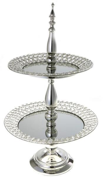 Çınar XL Lüks 2 Katlı Kurabiyelik Kristal İşlemeli | Gümüş