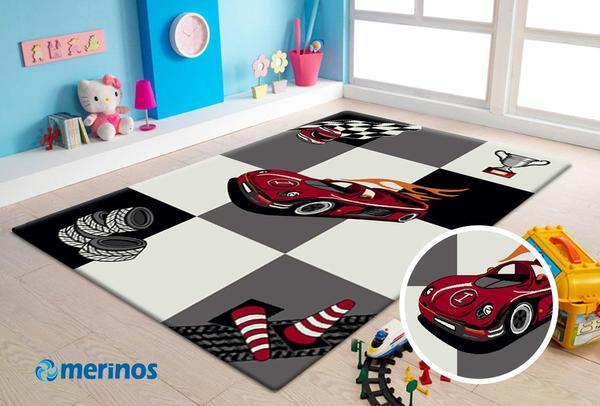 Merinos Diamond Yarış Arabalı Çocuk Odası Halısı | Krem | 21833-695-Cream-Grey