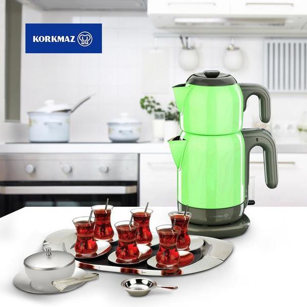 Korkmaz Demtez 2.7 lt. Elektrikli Çaydanlık - Yeşil