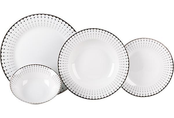Seranova Yemek Seti | Gümüş Desenli | 24 Parça | Porselen | MCK-0036