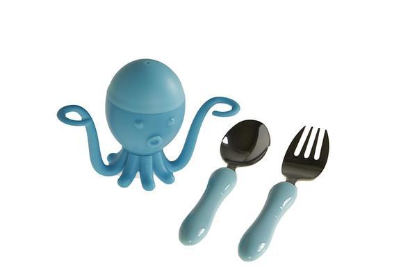 Evoks 3 Parça Mürekkep Balığı Çocuk Çatal Kaşık Bıçak Seti | Mavi | EVX-2602-B