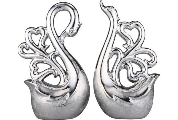 Almina 2'li Dekoratif Kuğu Biblosu | Gümüş | Al-4779